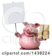 3d Chubby Pig Holding Boxes On A White Background