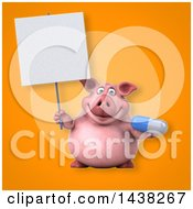 3d Chubby Pig Holding A Pill