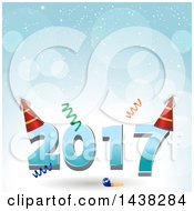 Clipart Of A New Year 2017 Design With Party Hats A Noise Maker And Streamers Over Flares And Snow Royalty Free Vector Illustration
