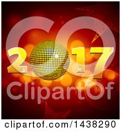Clipart Of A New Year 2017 Design With A 3d Disco Ball Flares And Stars Royalty Free Vector Illustration