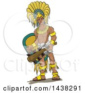 Clipart Of A Muscular Aztec Eagle Warrior Knight Royalty Free Vector Illustration by David Rey