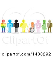 Clipart Of Silhouettes Of Rainbow Israeli Overweight Handicap Pregnant And Turkish Men And Women Royalty Free Vector Illustration
