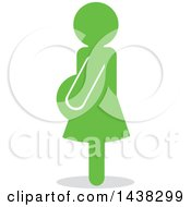 Clipart Of A Silhouette Of A Green Pregnant Woman Royalty Free Vector Illustration