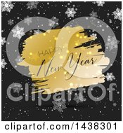 Clipart Of A Happy New Year Greeting On Gold Over Black With Snowflakes Royalty Free Vector Illustration