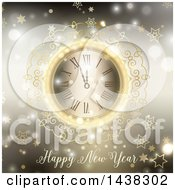 Clipart Of A Happy New Year Greeting Under An Ornate Clock Over Blur With Stars And Bokeh Flares Royalty Free Vector Illustration by KJ Pargeter
