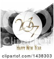 Clipart Of A Happy New Year 2017 Greeting With Black Watercolor Paint Royalty Free Vector Illustration