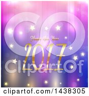 Clipart Of A Happy New Year 2017 Greeting Over Purple And Blue With Bokeh And Stars Royalty Free Vector Illustration