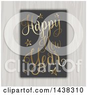 Clipart Of A Happy New Year 2017 Greeting In Gold On Black Hanging On A Wood Wall Royalty Free Vector Illustration