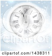 Clipart Of A New Year Count Down Clock With Waves Stars And Snowflakes Royalty Free Vector Illustration by KJ Pargeter