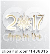 Clipart Of A Happy New Year 2017 Greeting With A Snowflake On Gray Royalty Free Vector Illustration