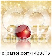 Clipart Of A 3d Red Bauble In New Year 2017 Design Over Gold With Bokeh And Snowflakes Royalty Free Vector Illustration