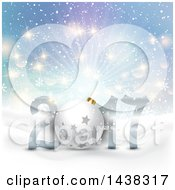 Clipart Of A 3d Starry Bauble In A New Year 2017 Design Over A Winter Landscape And Burst Of Light Royalty Free Vector Illustration