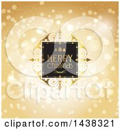 Clipart Of A Merry Christmas Greeting In A Frame Over Gold Bokeh Flares Royalty Free Vector Illustration