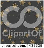 Clipart Of A Gray Christmas Background With Gold Snowflakes Royalty Free Vector Illustration by KJ Pargeter