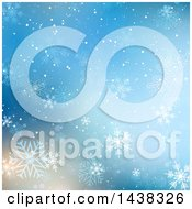 Clipart Of A Blue Christmas Background With Flares And Snowflakes Royalty Free Vector Illustration