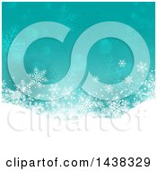 Clipart Of A Turquoise Christmas Background With A Snowy Hill Flares And Snowflakes Royalty Free Vector Illustration
