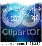 Clipart Of A Christmas Background Of String Lights And Suspended Snowflakes Over Blue Royalty Free Vector Illustration