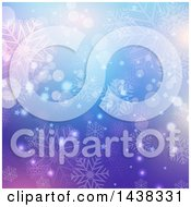 Clipart Of A Gradient Purple And Blue Christmas Background With Snowflakes Stars And Flares Royalty Free Vector Illustration