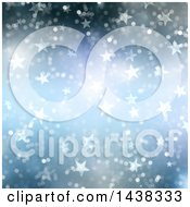 Clipart Of A Blue Christmas Background Of Bokeh Flares And Stars Royalty Free Illustration