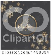 Clipart Of A Merry Christmas Greeting In A Round Frame Over Gray With Stars And Snowflakes Royalty Free Vector Illustration