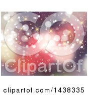 Clipart Of A Red Christmas Background Of Bokeh Flares Sparkles And Stars Royalty Free Illustration