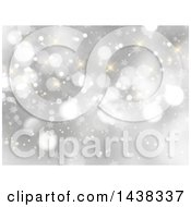 Clipart Of A Christmas Background Of Stars And Sparkles On Silver Royalty Free Vector Illustration