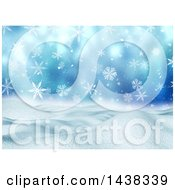 Clipart Of A 3d Winter Or Christmas Background Of A Snowy Landscape With Snowflakes On Blue Royalty Free Illustration