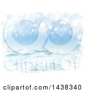 Clipart Of A 3d Winter Or Christmas Background Of A Snowy Landscape With A Border Of Snowflakes On Blue Royalty Free Illustration