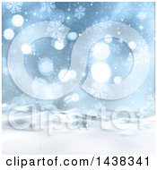 Clipart Of A 3d Winter Or Christmas Background Of A Snowy Landscape With Snowflakes And Flares Royalty Free Illustration