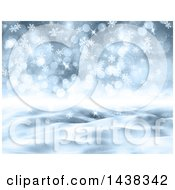 Clipart Of A 3d Winter Or Christmas Background Of A Snowy Landscape With Flares And Snowflakes Royalty Free Illustration
