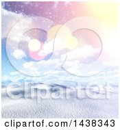 Clipart Of A 3d Winter Or Christmas Background Of A Hilly Snowy Landscape With A Sunrise Royalty Free Illustration
