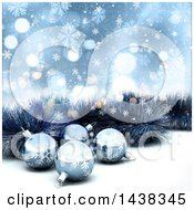 Clipart Of A 3d Christmas Background Of Tinsel And Baubles Over Blue Flares And Snowflakes Royalty Free Illustration