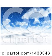 Clipart Of A 3d Snowy Winter Or Christmas Day Landscape Background Royalty Free Illustration