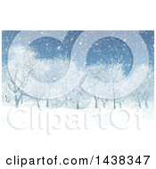 Clipart Of A 3d Winter Or Christmas Background Of A Snowy Landscape With Trees Royalty Free Illustration