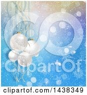 Clipart Of A Christmas Background Of 3d Hanging Bauble Ornaments Over Blue Flares Stars And Snowflakes Royalty Free Illustration