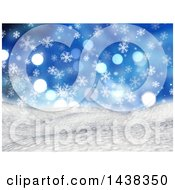 Clipart Of A 3d Winter Or Christmas Background Of A Snowy Landscape With Snowflakes And Flares On Blue Royalty Free Illustration