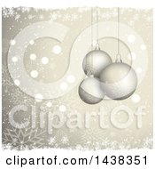 Clipart Of A Christmas Background Of 3d Suspended Bauble Ornaments Over Gold Bokeh Flares Stars And Snowflakes Royalty Free Vector Illustration