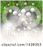 Clipart Of A Christmas Background Of 3d Suspended Bauble Ornaments And Tree Branches Over Stars And Bokeh Flares Royalty Free Vector Illustration