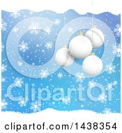 Clipart Of A Christmas Background Of 3d Suspended Bauble Ornaments Blue With Snow And Snowflakes Royalty Free Vector Illustration