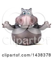 Clipart Of A 3d Henry Hippo Character Meditating On A White Background Royalty Free Illustration