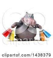 3d Henry Hippo Character With Shopping Bags On A White Background