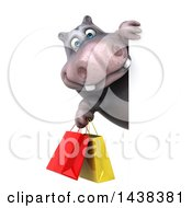 Clipart Of A 3d Henry Hippo Character With Shopping Bags On A White Background Royalty Free Illustration