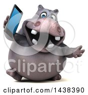 3d Henry Hippo Character Holding A Smart Phone On A White Background