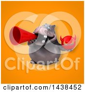 Clipart Of A 3d Henry Hippo Character Royalty Free Illustration