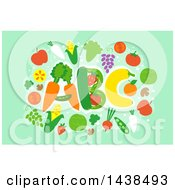 Clipart Of ABC Formed With Produce Over Green Royalty Free Vector Illustration