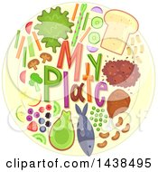 Clipart Of My Plate Text With Food Royalty Free Vector Illustration