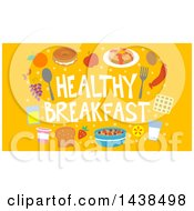 Clipart Of A Border Of Food Around Healthy Breakfast Text On Orange Royalty Free Vector Illustration by BNP Design Studio