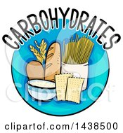 Clipart Of A Blue Icon With Carbohydrates Text And Food Royalty Free Vector Illustration