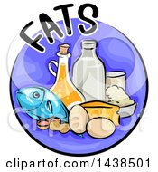Clipart Of A Purple Icon With Fats Text And Food Royalty Free Vector Illustration