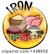 Clipart Of A Yellow Icon With Iron Text And Food Royalty Free Vector Illustration